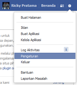 klik menu pengaturan facebook
