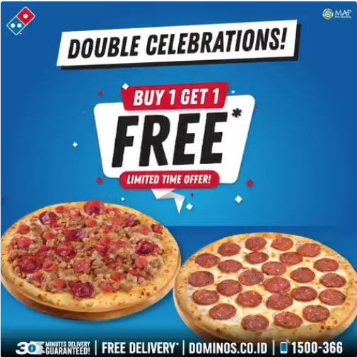 Domino's - Promo Double Celebrations Buy 1 Get 1 Free (13 Agustus 2018)