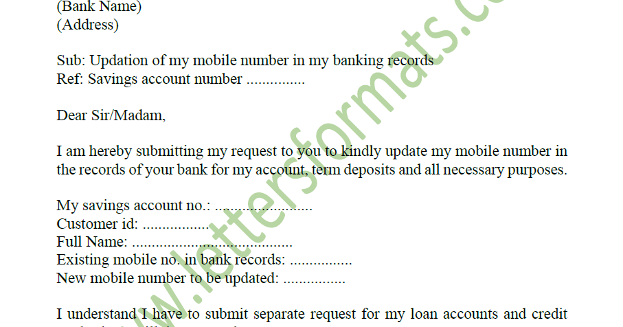 how to write letter for bank to change mobile number
