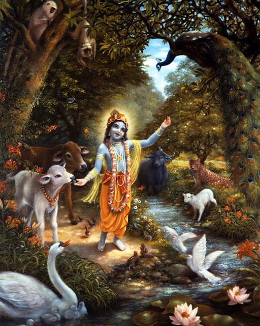 Krishna in a forest near Yamuna