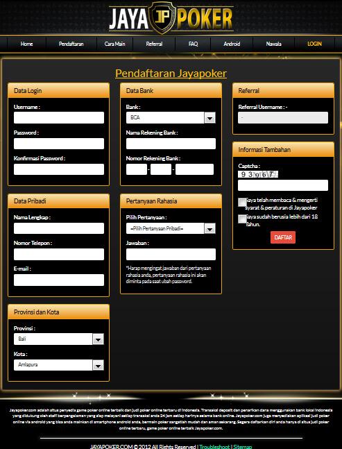 Jaya Poker Online Indonesia Cara Cara Melakukan Pendaftaran Di Situs Jaya Poker