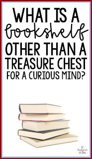 picture of stack of books with the quote: What is a bookshelf other than a treasure chest for a curious mind?