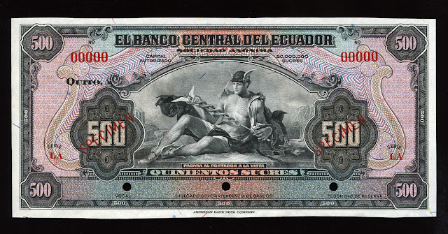 Ecuador banknotes 500 Sucres bank note bill World paper money currency cash