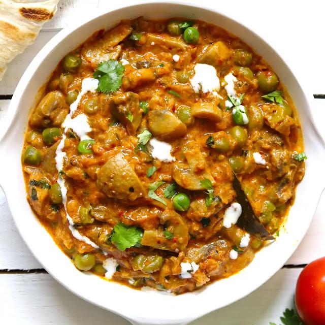 Mushroom Matar Curry Recipe