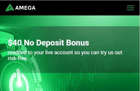 AMEGA $40 Forex No Deposit Bonus