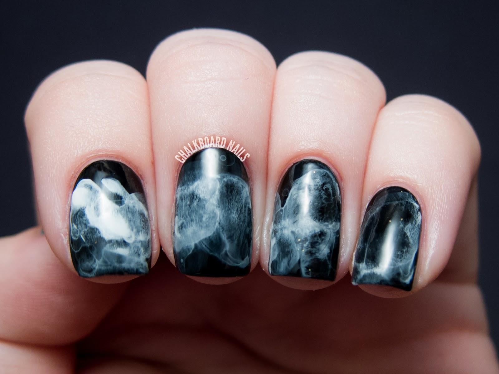 31DC2013 Day 07: Black and White Midnight Smoke Nail Art ...