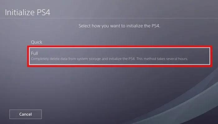 PS4 تهيئة كاملة 1