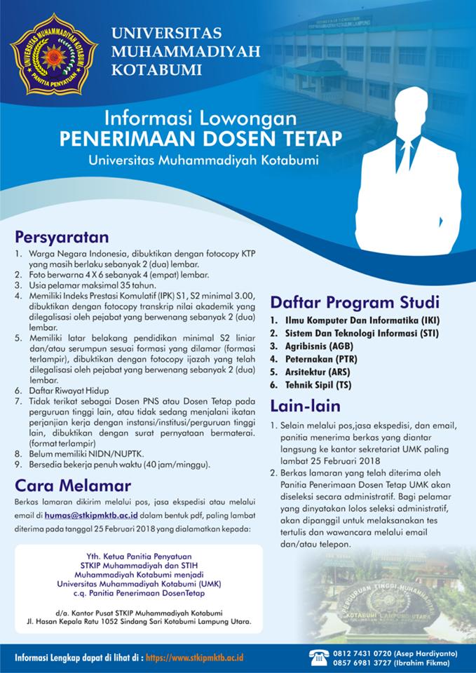 Lowongan Dosen Universitas Muhammadiyah Kotabumi Lampung Utara