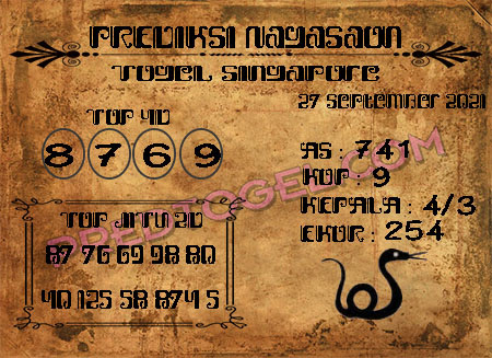 Pred Nagasaon SGP Senin 27 September 2021