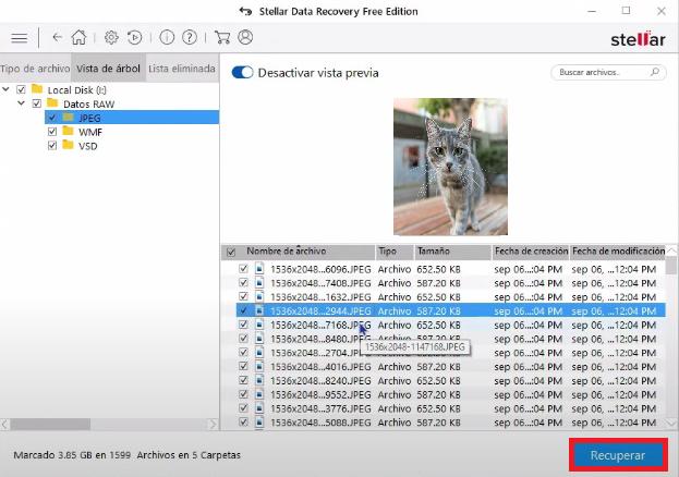 recuperar datos utilizando Stellar Data Recovery