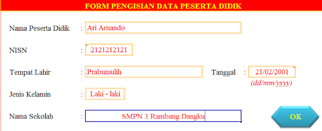 gambar isi data kartu NISN siswa