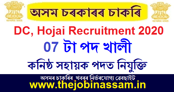 Deputy Commissioner, Hojai Recruitment 2020: Apply for 07 Junior Assistant Posts
