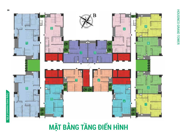 Mặt bằng tầng điển hình dự án căn hộ chung cư Housinco Grand Nguyễn Xiển.