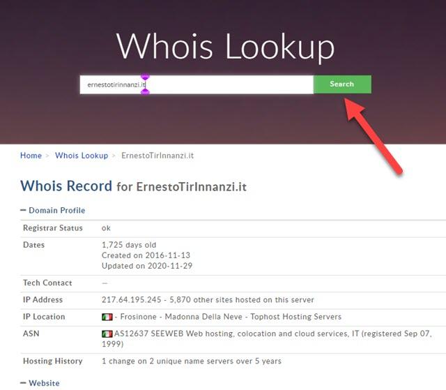 informazioni sul dominio con WHOIS