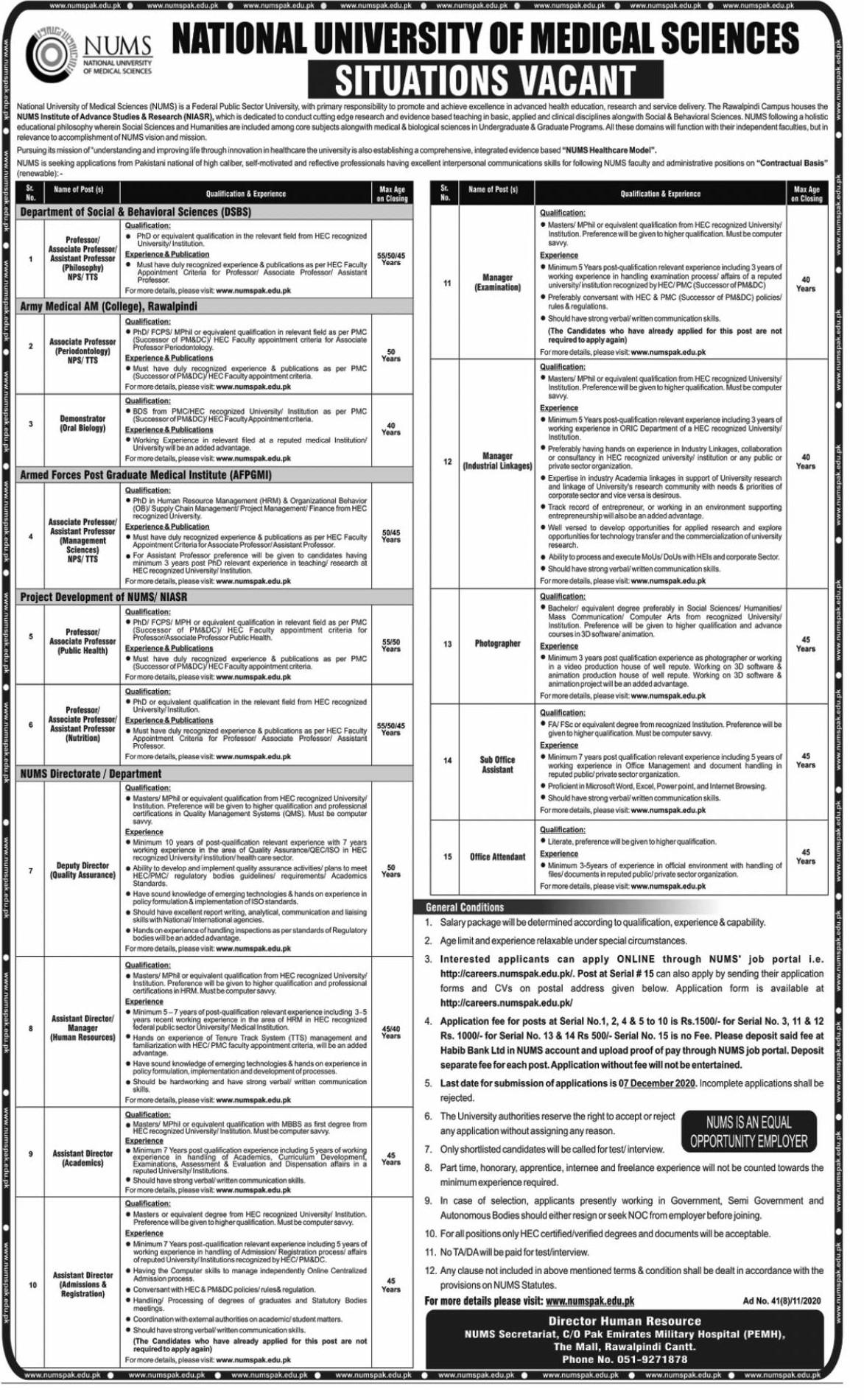 National University of Medical Sciences NUMS Jobs in Pakistan - Download Job Application Form - numspak.edu.pk/careers/ Jobs 2021