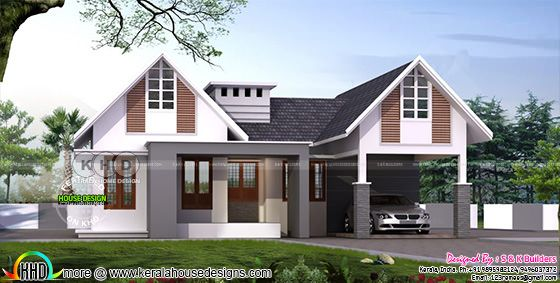 2000 square feet 4 bedroom sloping roof house plan