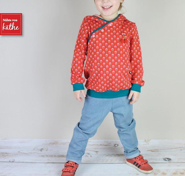 Schnittmuster/Ebook Pullover Henry, Hose Herzblut und Beanie von Rosarosa, Tante Ema Stoffe Tupfenwiese rot