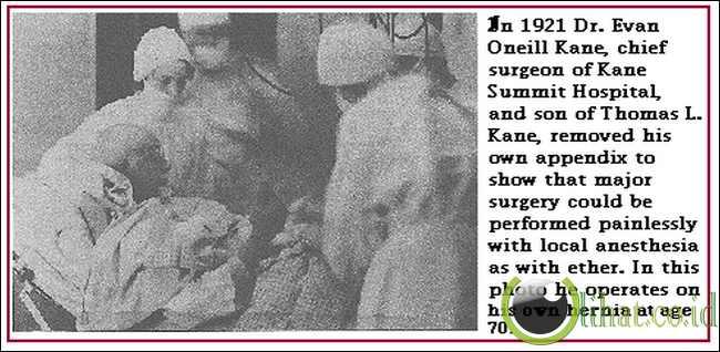 Dr Evan O'Neill Kane, 1862-1933 ... Appendictomy Dan Operasi Hernia inguinalis