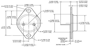 National LM340 TO-3 Metal Can Package Physical Dimensions Diagram