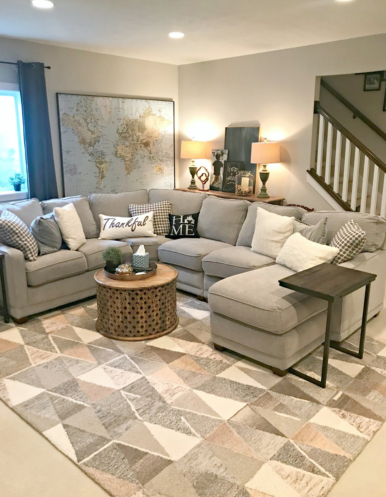 Family room in basement with large sectional