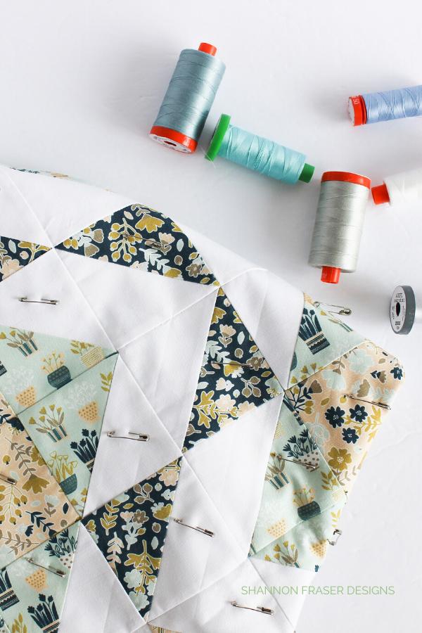 Sampling Aurifil Thread for quilting | Neufchâtel Modern Aztec Crib Quilt | Shannon Fraser Designs #modernquilt #quilts #babyquilt #aurifilthread