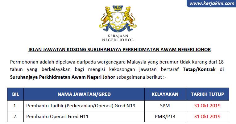 Jawatan Kosong Di Suruhanjaya Perkhidmatan Awam Negeri Johor Spaj
