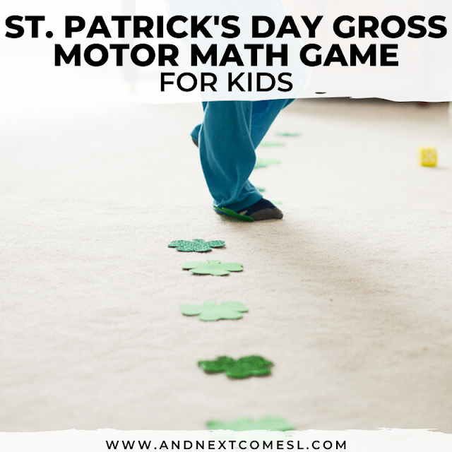 Shamrock St. Patrick's Day gross motor game and math activity for kids