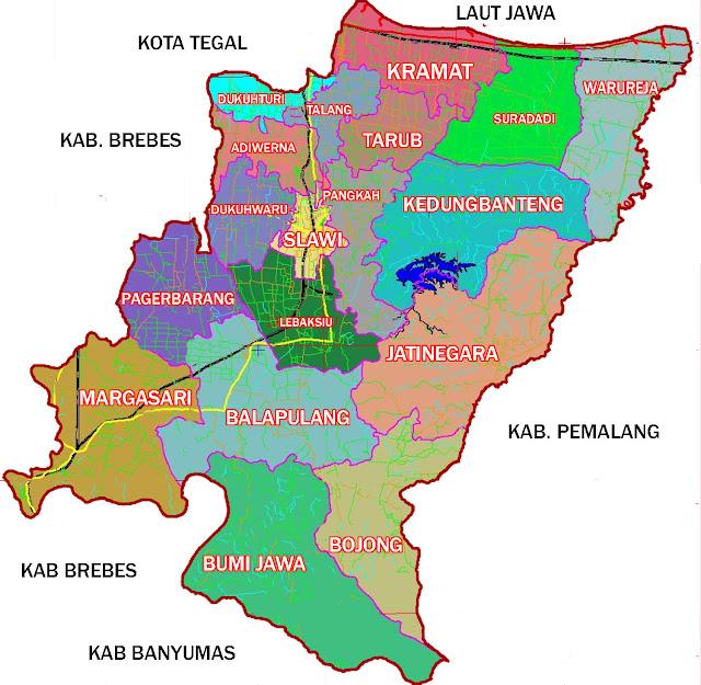 Gambar Peta Kecamatan Kabupaten Tegal