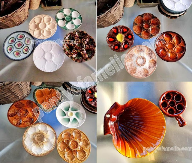 Wide Selection of Vintage French Oyster Plates, Multicolored Glossy Ceramic dishes coming in various sizes and colors. Large Brown Scallop Dish.