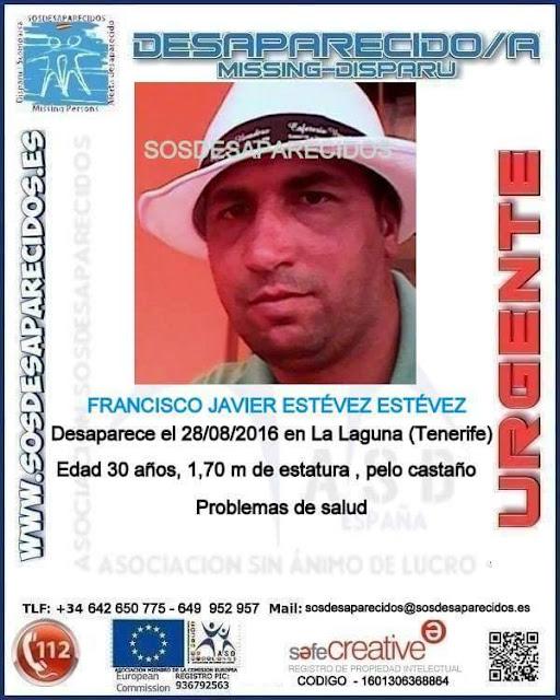 Francisco Javier Estévez Estévez, hombre de 30 años desaparecido en La Laguna, Tenerife
