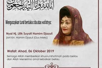 Nyai Hj. Lilik Suyati Hamim Jazuli Wafat