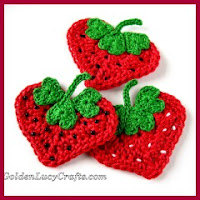 Aplique fresas a crochet