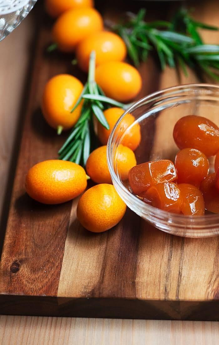 fresh kumquats and candied kumquats