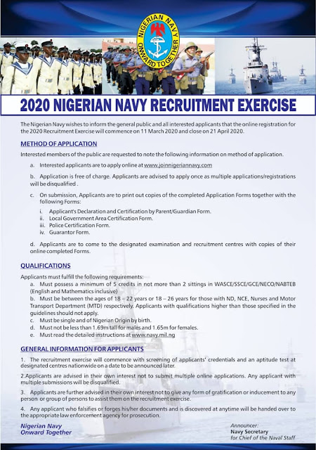 Nigerian Navy Recruitment Exercise Guidelines 2020/2021 [UPDATED]