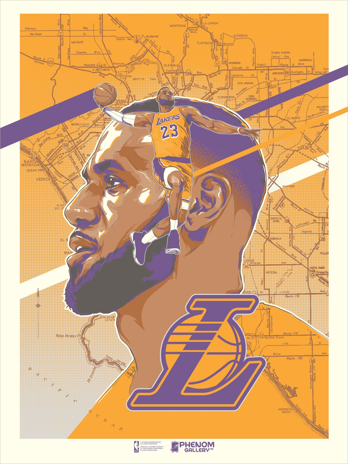 034d542a6f04 Los Angeles Lakers LeBron James Screen Print by Rob Zilla x Phenom Gallery