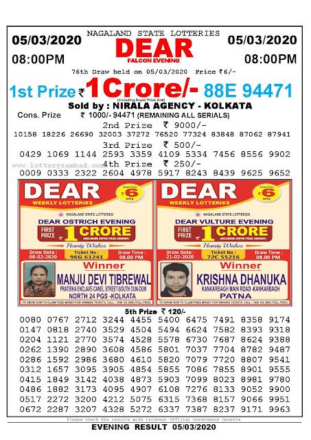 Nagaland State Lotteries 05-03-2020 Lottery Sambad Result 800 PM