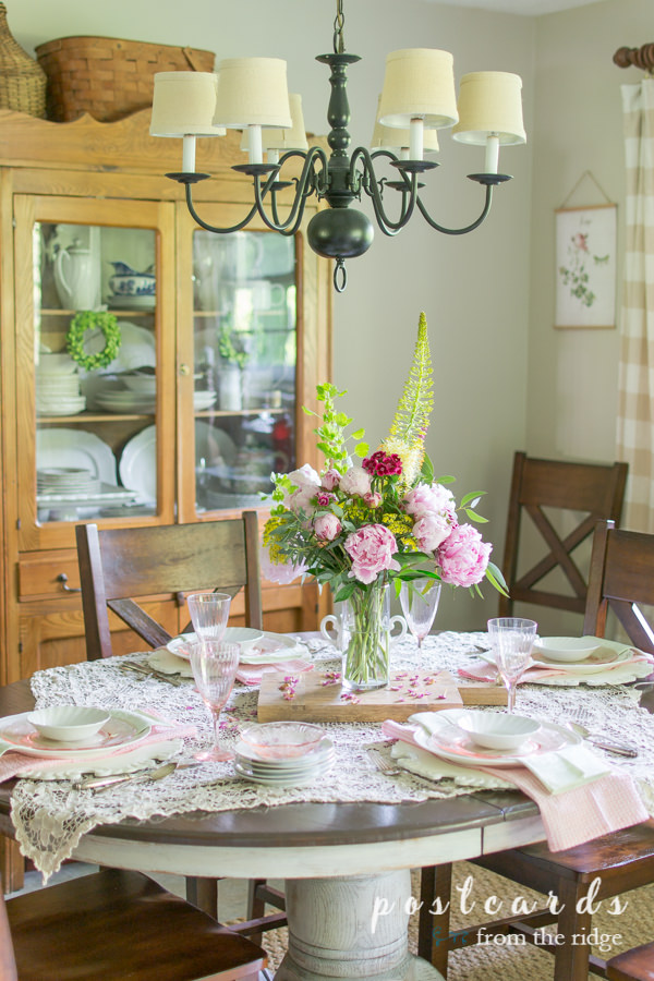 pastel spring tablescape with peony centerpiece