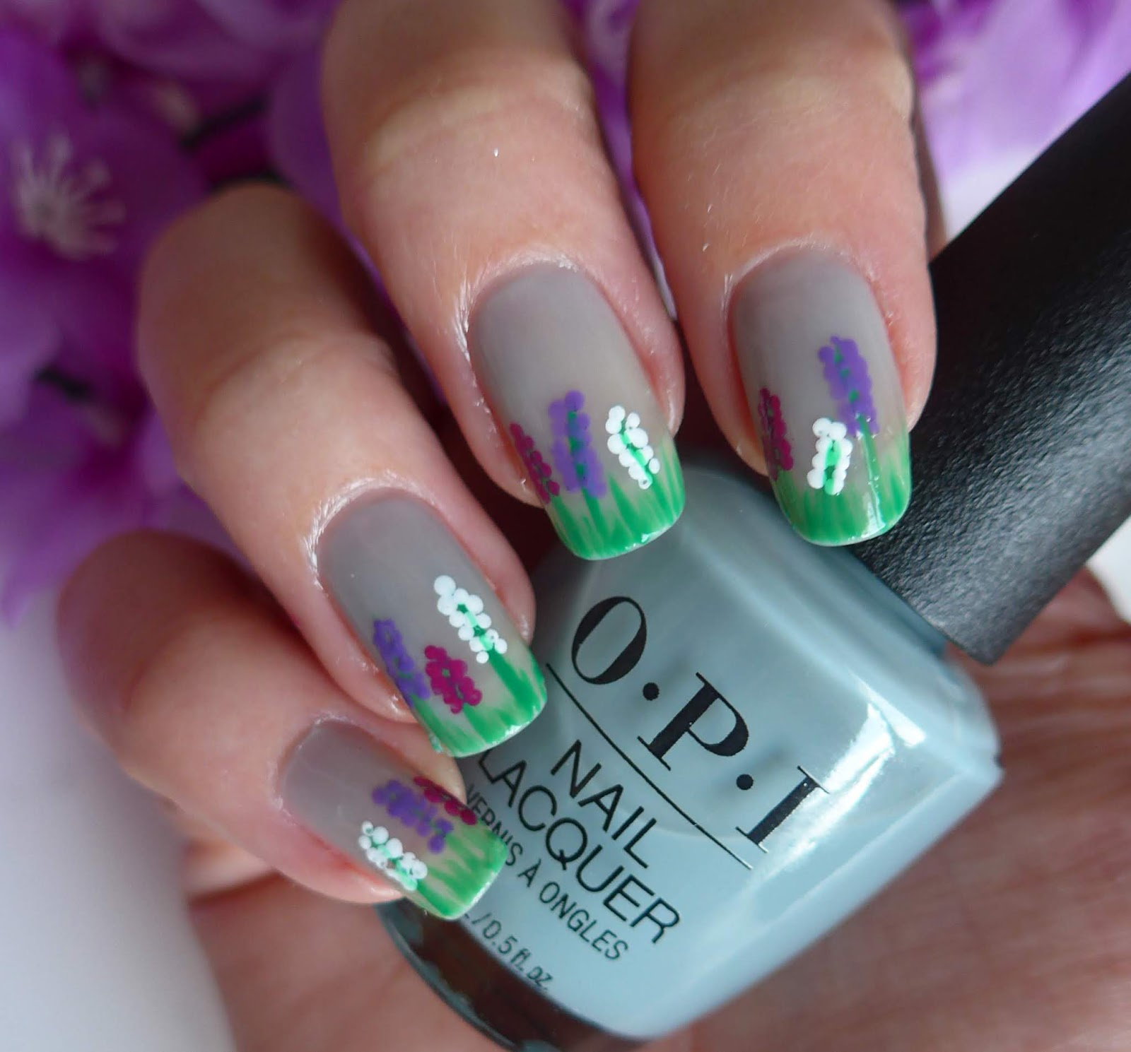 Manicure Monday - Hyacinth Flower Garden Nail Art