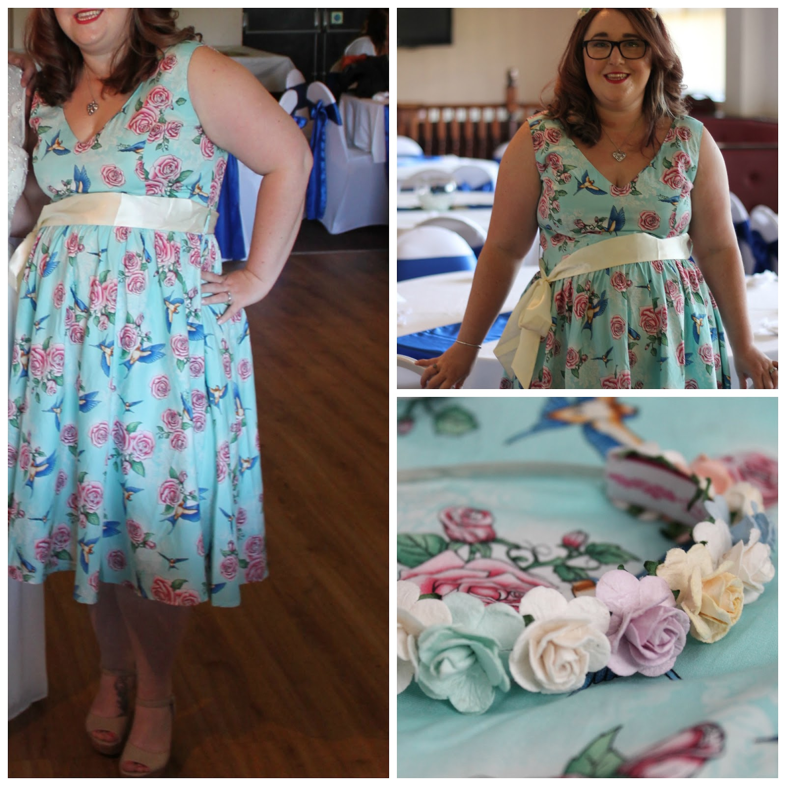 outfit post Hell Bunny Turquoise Lacey 1950 s Vintage Dress and pastel  flower hairband ... 0a44a067659