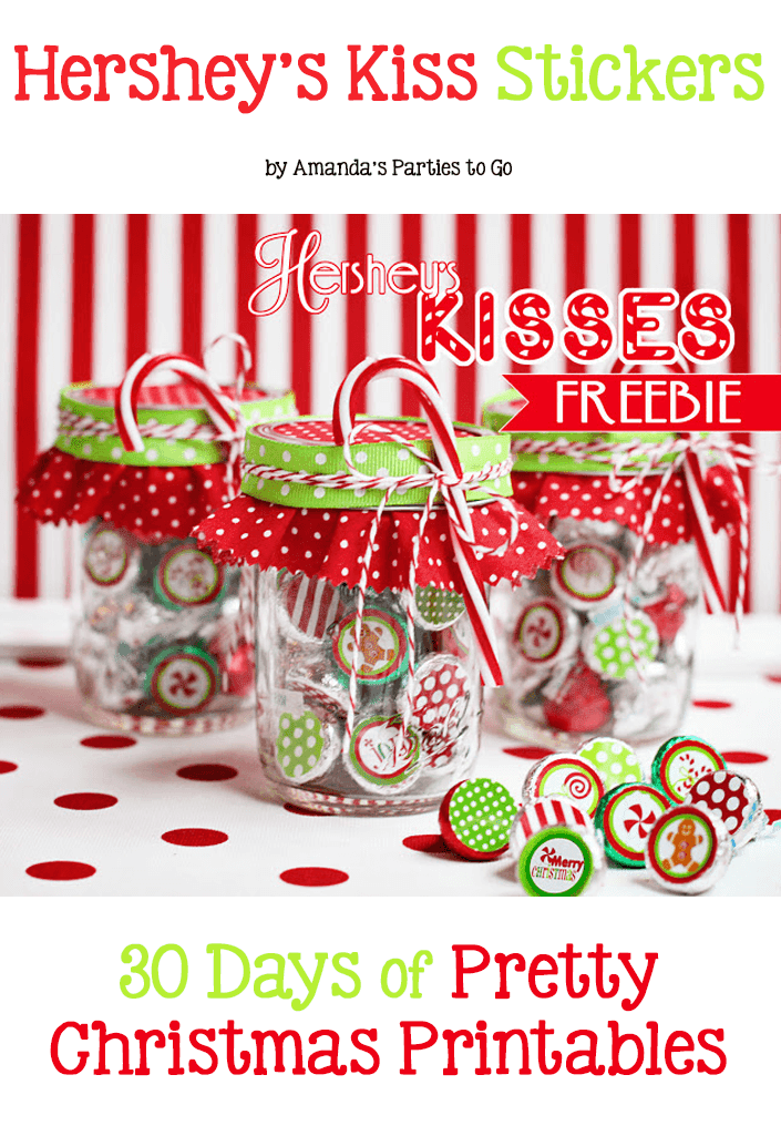 Hershey's Kiss Stickers. 30 Days of Pretty Christmas Printables hosted by GradeOnederful.com