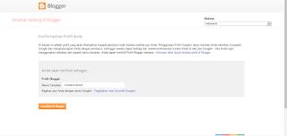 Gambar halaman dengan kolom untuk memasukkan nama profil blogger