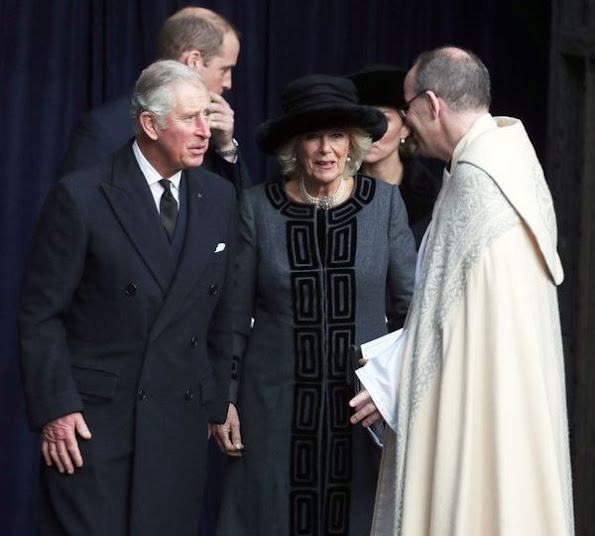 Kate Middleton wore the black Alexander McQueen coat, Gianvito Rossi pumps, Pretty Ballerinas Mascaro black velvet clutch