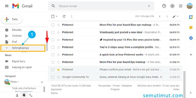cara melihat kode verifikasi email di spam