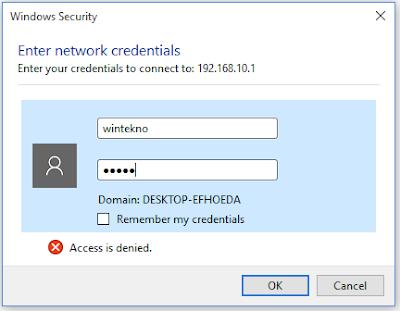 memasukan user dan password samba server
