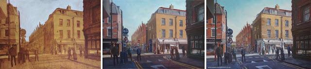 east end London scene oil painting WIP