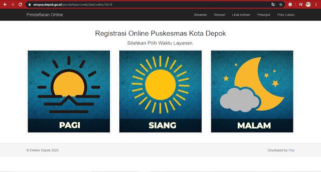 waktu kunjung daftar online puskesmas di Depok