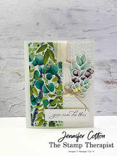 This card is from my latest Facebook Live uses Stampin' Up!'s Forever Fern set, Forever Flourishing dies, Forever Greenery Trim Combo Pack, Gold Hoops, Forever Greenery designer paper, and Greenery embossing folders. Click the pic to see video and supply list.  #StampTherapist #StampinUp