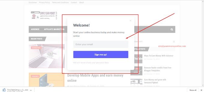 Add registration popup form on blogger website
