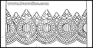 sadi ka kinara drawing,simple saree border drawing,sadi ka kinara ka design