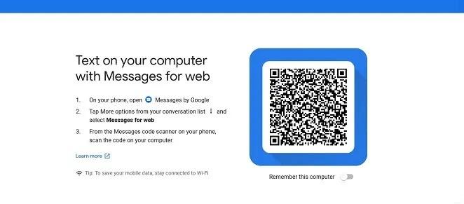 الوصول إلى Google Messages Desktop Web App View